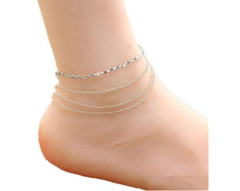 4 layer anklet, silver plated anklet, women anklet, rhinestone anklet, foot ankle bracelet, barefoot anklet, foot jewelry