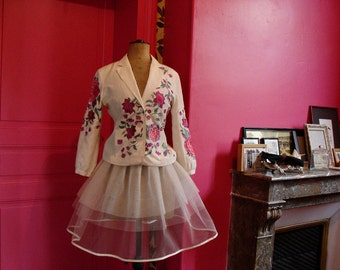 TUTU in white tulle for retro dress