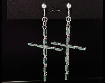 Clip On Earrings: Beautiful Silver Plated Crucifix Costume Clip-on Earrings with Blue Inlay | Fashion Earrings, Long Drop Earrings, 276