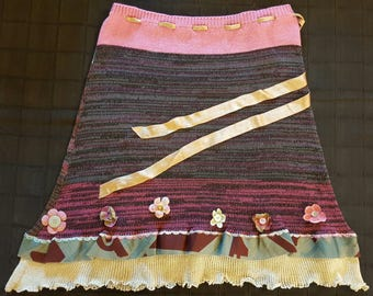 Linen and silk skirt with flower appliqués and beadwork. Unique piece