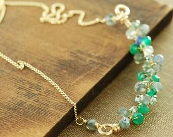 Clustered Gemstone Statement Bar Necklace, Green Blue Blend Gem Layering Necklace in Gold, Aquamarine Sapphire Birthstone Jewelry