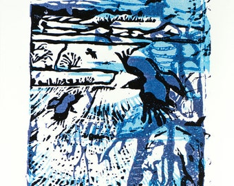 A6 cards: Snowy Rooks - pack of 5