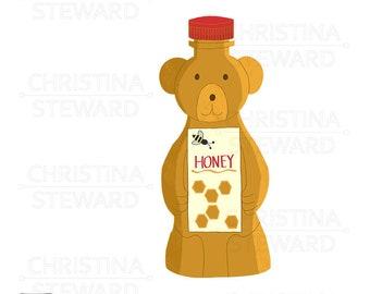 Honey Clip Art, Honey Bear, Honey Bee, Food Clip Art, Hand Drawn Illustration, Digital Graphic, Instant Download, Commercial Use, PNG