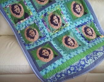 Pop Art Quilt, Mid-Century Glamour Portrait lQuilt, Blue and Green