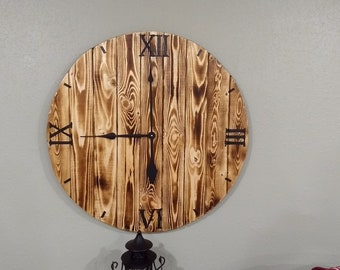 "30"" Burnt Wood Black Wall Clock"