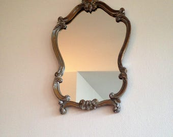 Baroque mirror - patina gold and silver - Louis XV style - shell / foliage