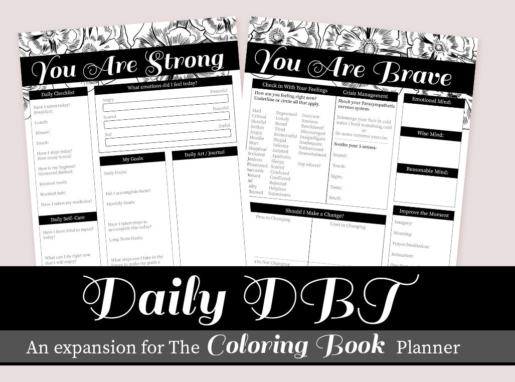 Daily Dbt Planner Add On Expansion Therapy And Self Care