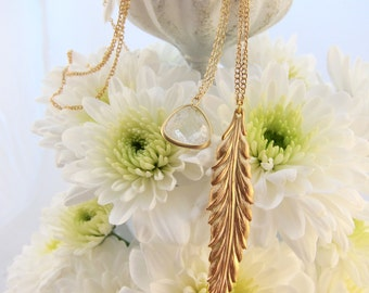 Double Layer Gold Feather and Clear Crystal Quartz Semi Precious Stone Necklace Set on Chain - All-in-one!