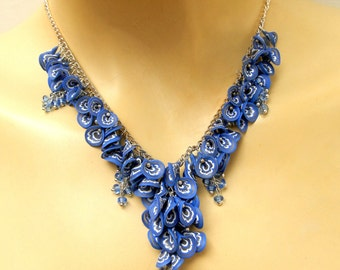 Blue Necklace, Blue Jewelry, Flower Necklace, Handmade Jewelry, Statement Necklace, Boho Jewelry, Gift For Her, Millefiori, Women Gift