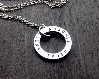 Mothers Necklace, Mom Necklace, Name Necklace, Personalized Jewelry, Hand Stamped Jewelry, Layered Jewelry