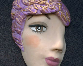 Sale !  Face Shard  2 1/2 Inch Lavender textured Polymer Clay   LFSH 1