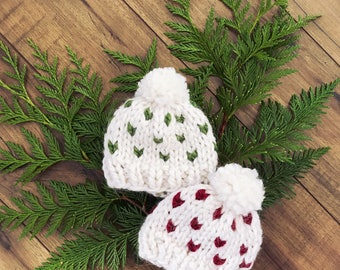 Hat Ivory and Green Fair Isle Chunky knit, Hand Knit, Chunky