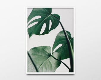Monstera Leaf Print, Monstera Leaf Decor, Monstera Wall Art, Minimalist Print, Nature, Tropical Decor, Tropical Print, Tropical Plant Print
