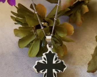 Stainless Black Cross, Biker Jewelry, Cross Necklace, Silver and Black Cross, Black Finish, Laser Cut Design, Ladies Cross Necklace, Chain