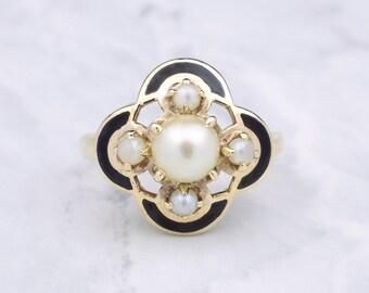 Vintage Pearl and Enamel Ring