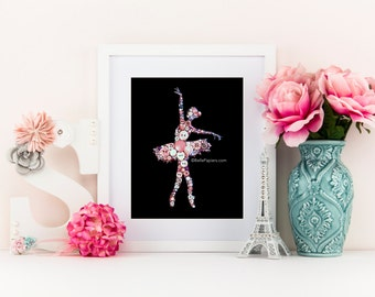 Ballerina Dancer | Button & Swarovski Art Button Art | Ballet Dancer | 8x10 buttons button picture tutu dancer