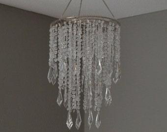 WEDDING CHANDELIER Acrylic Crystal Diamond cut beaded chandelier. Wedding decor. Wedding centerpiece.