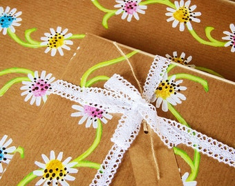 Daisy Chain - Luxury Gift Wrap Pack (Lace Trim Ribbon) (PACK OF 2)