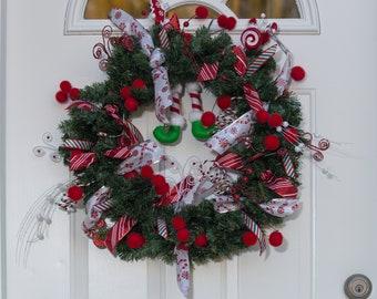 Christmas Holiday Wreath, Elf Wreath, Peppermint Wreath, Christmas Decor, Holiday Decor