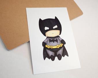 Mini Batman - 4x6 Print [ Batman / DC / Fan Art / Chibi ]