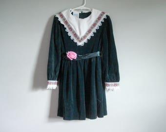 Green velveteen dress - girl's size 6 - Bonnie Jean