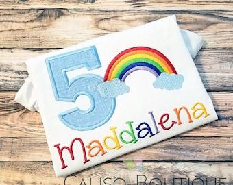 Girls Rainbow Shirt BLUE - Rainbow Birthday Shirt - Birthday Party Shirt for Girls - Personalized Birthday Number Shirt - Birthday Shirt