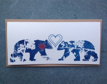 Friends and Lovers- Two Bears Cyanotype Greetings Card for Valentines, Secret Admirers and Best Friends
