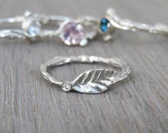 Leaf Diamond Ring, Small Diamond Ring, Diamond Leaf Ring, Leaf Ring, Twig Ring, 14k Gold Ring, Stackable Gold Ring, Unique ring, Gift