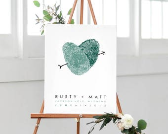 Canvas Wedding Sign Fingerprint Wedding Guest Book Poster, Personalized Wedding Gift, Gay Wedding Thumbprint GuestBook Wrapped Canvas