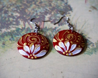 Full red & gold designed earrings, Painted coconut shell earrings, Handcraft coconut shell earrings, eco-friendly jewelry