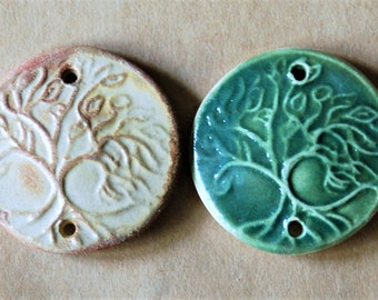 2 Tree of Life Handmade Ceramic 2 holed Connectors - Sale Set for Summer Festvals - Links of Clay - Jewelry Supplies