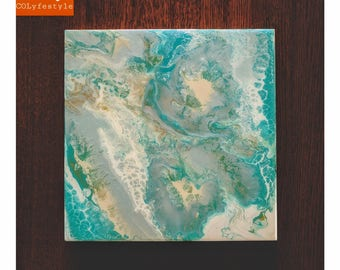 Pearl Acrylic Fluid Painting on Wood - Art Resin - Aquarium, Jet Stream, Bleached Sand, Gold, White