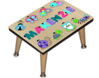 Child's Personalized Step Stool Puzzle With Flowers and Critters Kids Name Ladybug, Buttrefly, Turtle, Flowers, Snail, Caterpillar 537645011