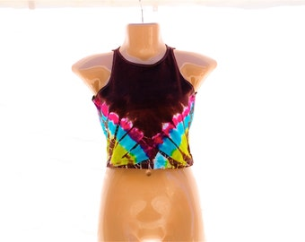 Tie Dye Crop Top, Trippy American Apparel Half Top, Summer Hippie Clothing, Festival Top, Ladies Large Crop Tank