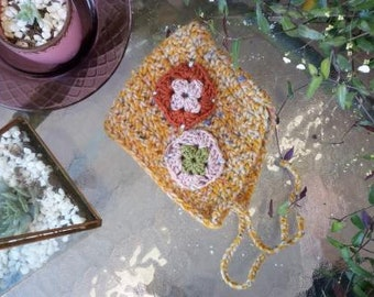 Baby bonnet, patchwork bonnet, granny square crochet