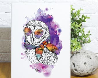Hipster Owl Canvas Wall Art