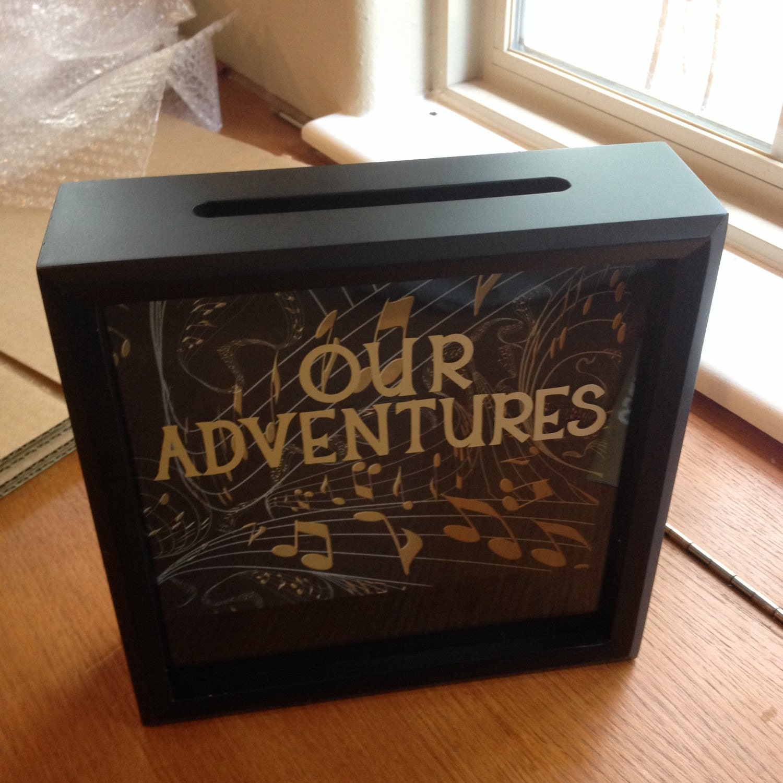 OUR ADVENTURES Ticket Stub Shadow Box 8x8 Girlfriend Gift
