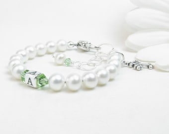Personalized Christening or Baptism Bracelet - Girl Baptism Communion Confirmation Gift - Newborn Infant Baby Bracelet - Baby Girl Bracelet