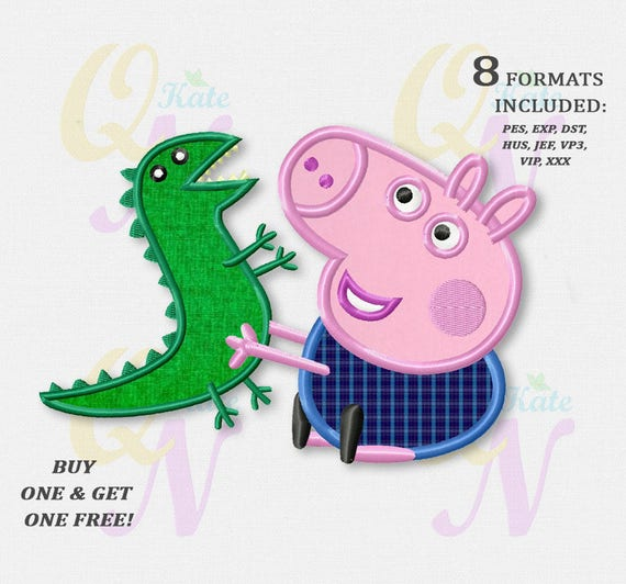 Bogo free george pig applique embroidery design peppa pig george pig applique embroidery design peppa pig machine embroidery designs embroidery designs baby instant download 035 from katequickneedle on etsy dt1010fo