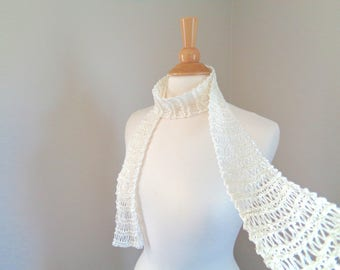Hand Knit Skinny Scarf, Ivory White, Super Thin Lacy Scarf, Silky Cotton, Summer Fashion, Women Teen Girls, Great Gift