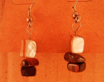 Red Tigers eye with pearl shell earrings