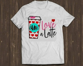 Love a Latte/Initial Valentine's Day Tee! Adorable and perfect for parties!