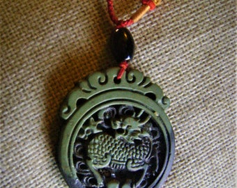 Jade dragon pendant etsy 2 tone jade dragon pendant imported from china hand carved intricate vintage aloadofball Images