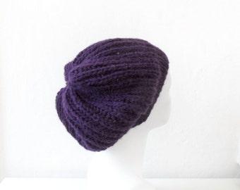 Purple Slouchy Hat, Alpaca Beanie