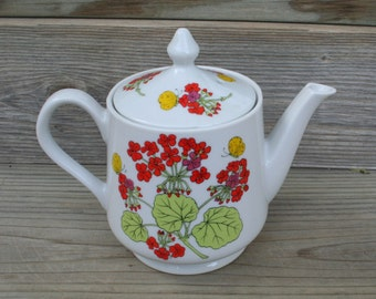 Colorful, Bright and Cheery, Floral, Geraniums  China Teapot