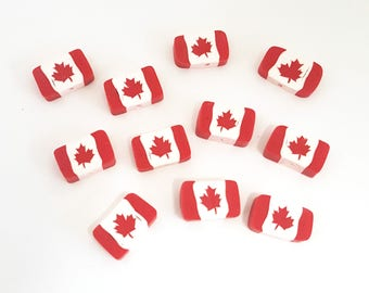 Canada Flag Beads, Red Maple Leaf Beads, Polymer Clay Beads, Canadian 10 Pieces