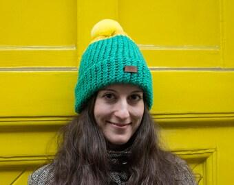 Green-Yellow Hat with furry pom pom