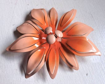 Vintage large enamel flower pin or brooch peach and pale pink blush dimensional