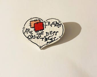 Best Friends Heart Pin Crafters Pins Handmade Handpainted Vintage Craft Brooch Wooden Pinback Best Friends Are Collectibles Badge
