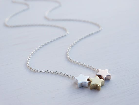 3 Stars Necklace, Sterling Silver, Gold & Rose Gold